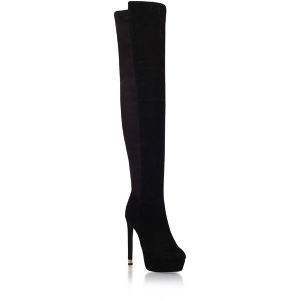 Kurt Geiger London Vegas Over-The-Knee Boots ($150) ❤ liked on Polyvore featuring shoes, boots, chunky-heel boots, thigh high platform boots, suede thigh-high boots, over the knee stiletto boots and suede over-the-knee boots