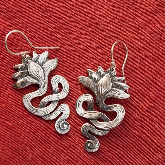 Lotus Earrings/ long  sterling silver drop by BobsWhiskers on Etsy, $52.00 ......and now matching earrings??  Sweeet!