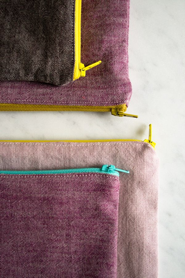 Molly's Sketchbook: Simple Lined Zipper Pouches - Purl Soho - Knitting Crochet Sewing Embroidery Crafts Patterns and Ideas!