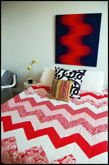 Chevron Quilt - I like the quilting idea on this one.