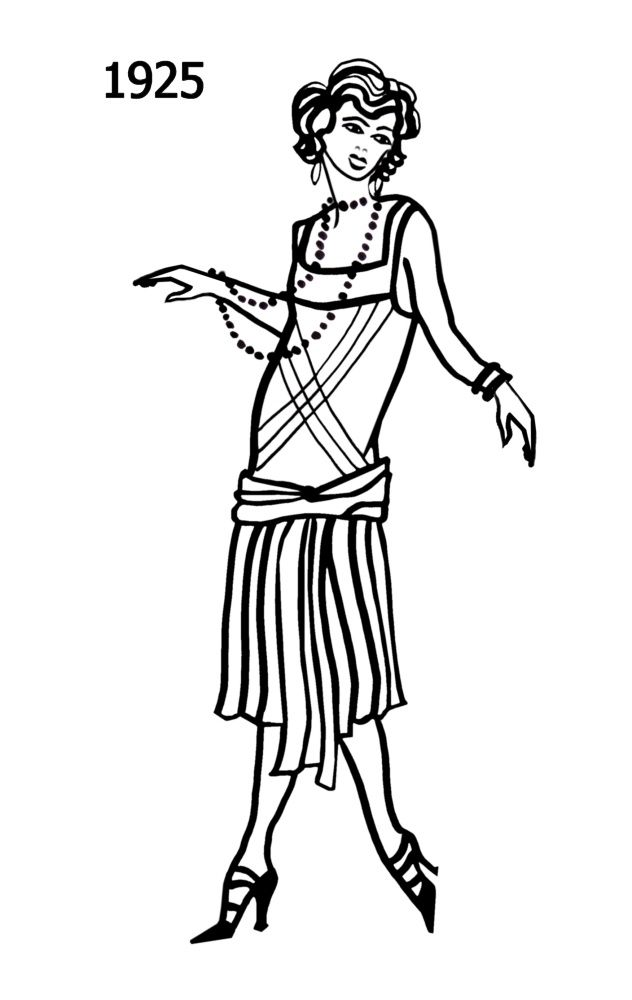 D Line Drawings Locations : Silhouette line drawing of shorter drop waisted dress
