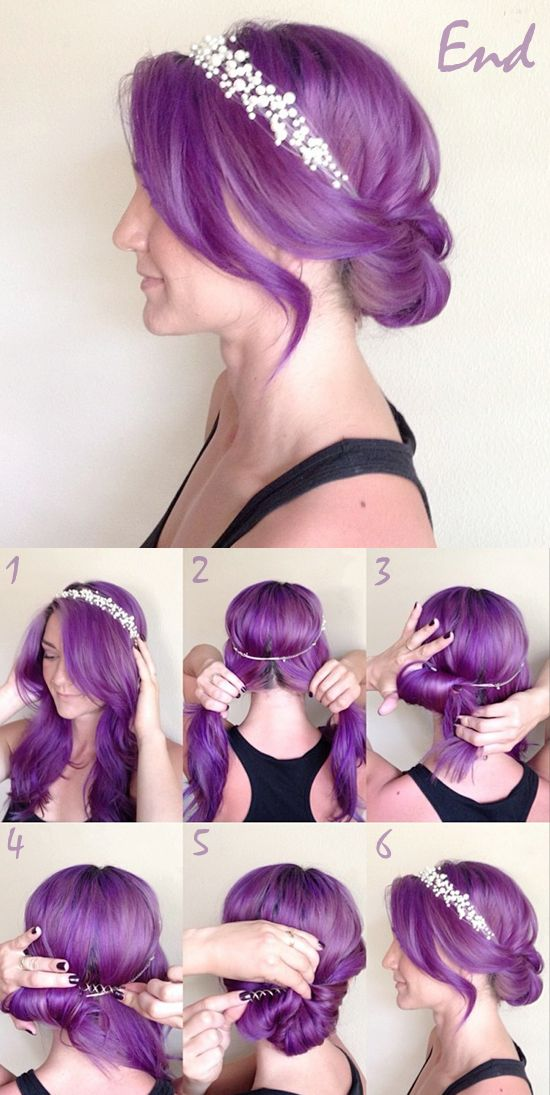 Place head band on the top of your head securely and then divide the hair into two sections below the headband. Roll the left section around your finger and place a spin pin horizontally across the inside of the roll. Make sure the left part has been well secured and then repeat on the other section. After you finish the two sides, make some adjustments or add more pins to secure it, and then you are done.