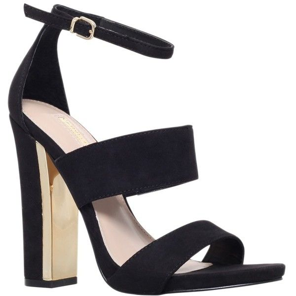 Carvela Gossip High Block Heeled Sandals, Black ($170) ❤ liked on Polyvore featuring shoes, sandals, heels, strappy sandals, flat sandals, ankle strap shoes, black chunky sandals and black flat sandals