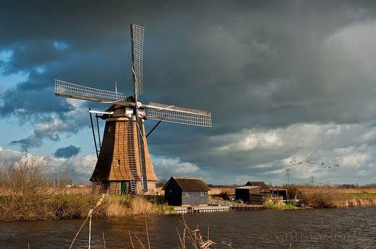 Los antiguos molinos de viento de Kinderdijk