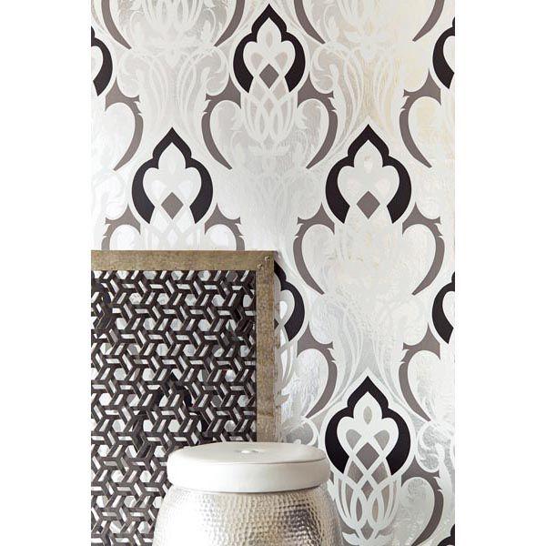 341723 silver nouveau damask sahrzad yasmin wallpaper for Moroccan style wallpaper