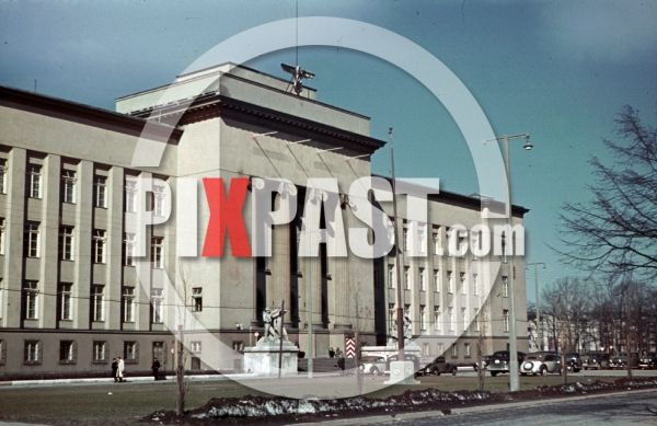 WW2 color photo showing AGH University of Science and Technology, Kraków, Poland 1940
