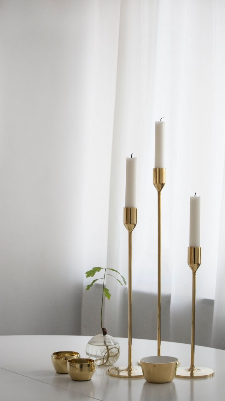 Candlestick Nattlight Small, Medium and Large, Polished Brass - Richard Hutten, Skultuna. Candle Holder Kin, Polished Brass - Claesson Koivisto Rune, Skultuna. Bowl Kolte Small, Polished brass & powder coating - Olof Kolte, Skultuna