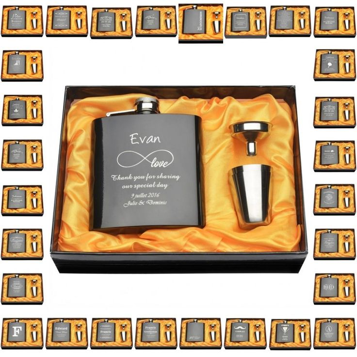 Set Of Engraved Customized 6oz Hip Flask Set Anniversar Day Best Man Bride & Groom Bridesmaid Groom Man Gifts Presents Favor