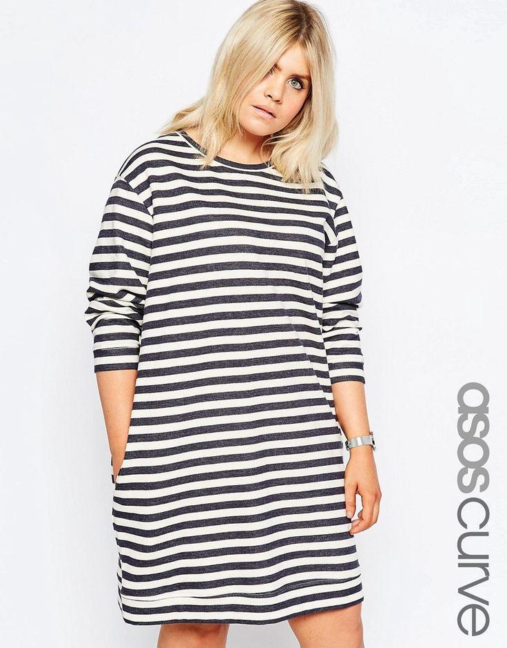 Cool ASOS CURVE Spring Stripe Sweat Dress with Curve Hem ASOS Curve Kjoler til Damer i behageligt materiale
