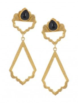 Black Onyx Gold-plated Brass Earrings
