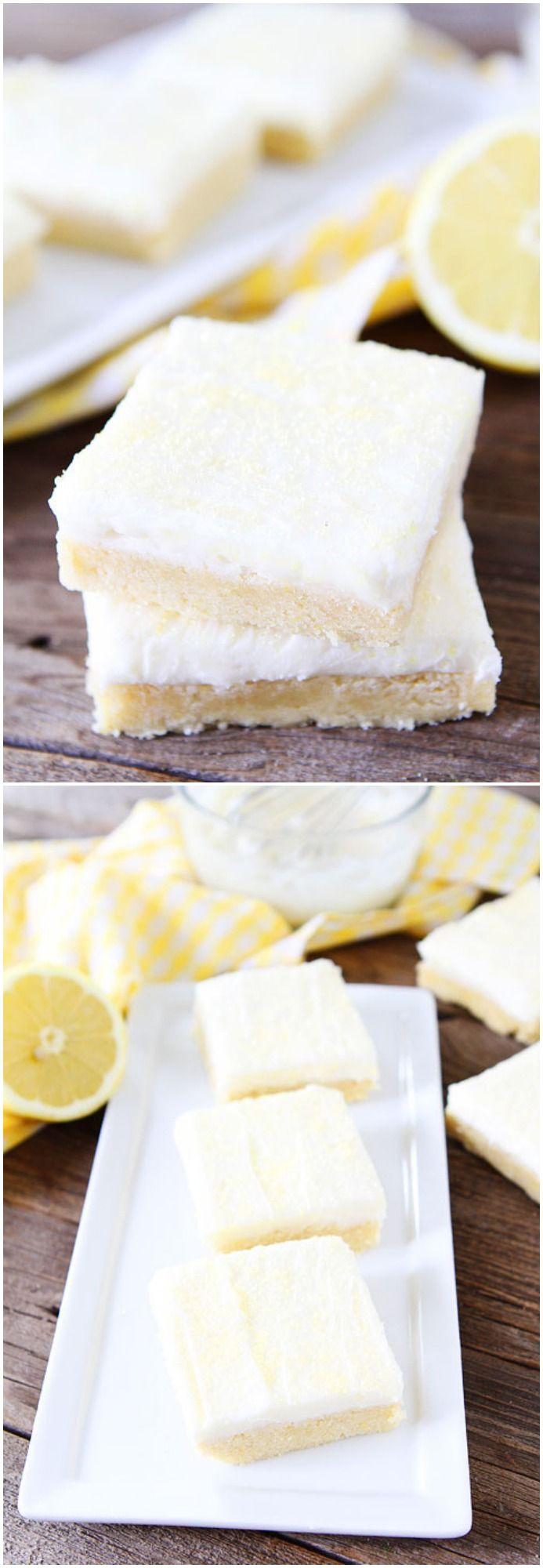 Lemon Sugar Cookie Bars with Lemon Cream Cheese Frosting on http://twopeasandtheirpod.com. The perfect summer dessert! #recipe #lemon #summer