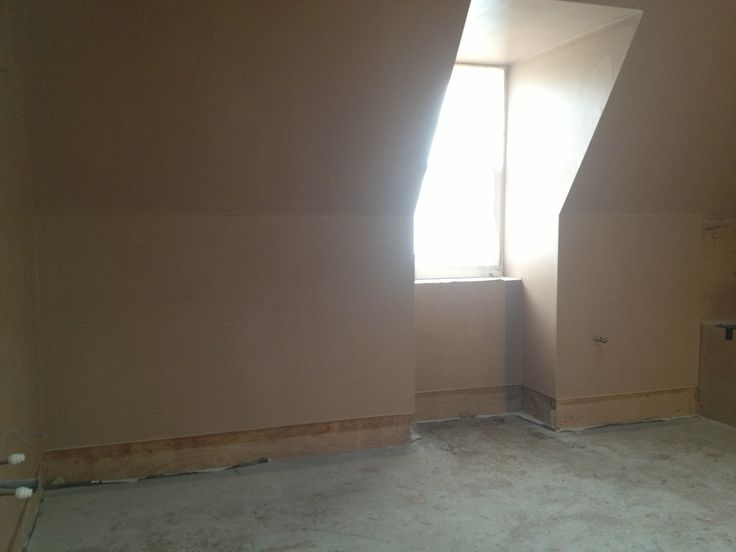 The top floor games room freshly plastered