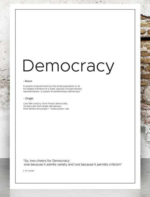 Democracy definition print Democracy typography by VectorZone