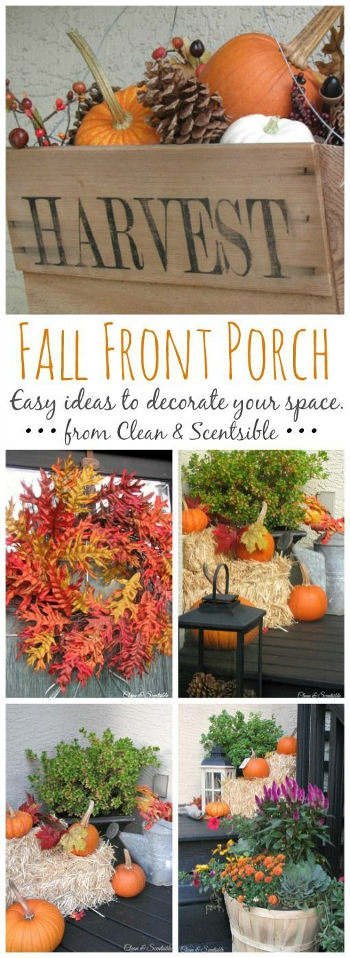 Easy fall decorating ideas for your front porch. // http://cleanandscentsible.com