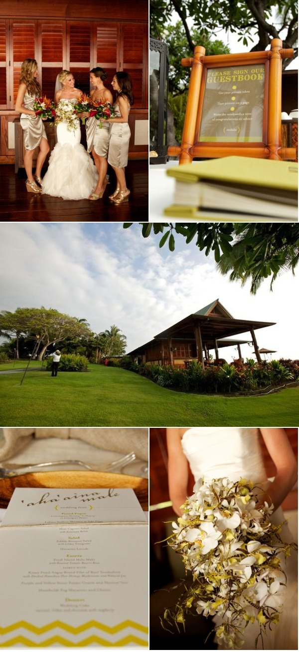 hawaiian wedding with beautiful bouquet