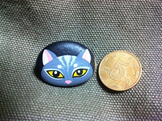 Fox Hand Painted Pebble Stone Brooch Pin by RockPaperScissors111, $11.99