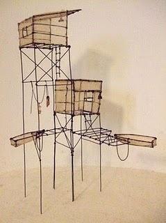 Cabane de pêcheurs . Fil de fer, tartalane & graines  Superbe travail tout en poésie d'Isabelle Bonte