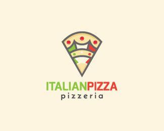 Italian Pizza is a logo in the shape of a slice of pizza with a bird with a crown in the center with the colors green, yellow, red, white and black.( logo for sale, drinks, food, pizza, fast food, Italian restaurant, Italian, food service, crown, flag, map, restaurant, logo design, exclusive logo).