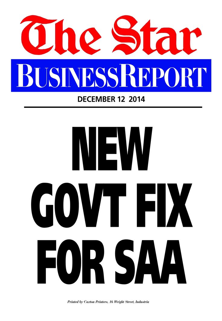 Today's Business Report newspaper street poster (December 12, 2014) deals with the latest story about SAA.  To read this story click here: http://www.iol.co.za/business