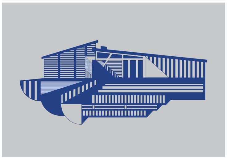 Kristina Dam Illustration – House A4 – blå - Tinga Tango #illustration#kristinadamstudio#dekoration#grafisk