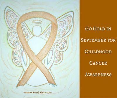 Gold Awareness Ribon Angel Art - Go Gold in September for Childhood Cancer Awareness