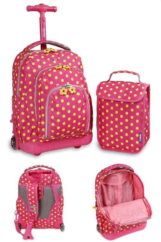Kids Rolling Backpack Pink Buttons Lunch Bag Girls Light Up Wheels School Travel #JWorldNewYork