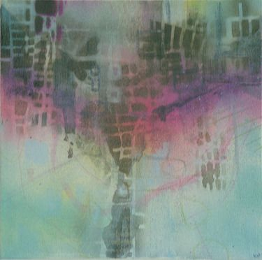 elsewhere // Katharyna Ulriksen 2009 mixed media on canvas#painting #art #maps #cities #senseofplace #nonplace #travel #transit #temporary #locations