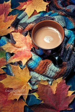 Cup of warming coffee or chocolate set with autumn leaves and a warm scarf