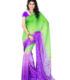Buy Green And Violet Printed jacquard saree with blouse jacquard-saree online