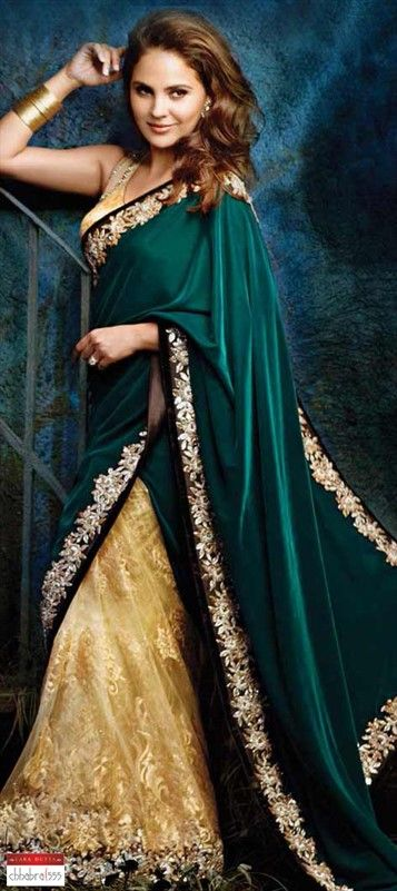 111237: Green, Beige and Brown color family Saree with matching unstitched blouse.