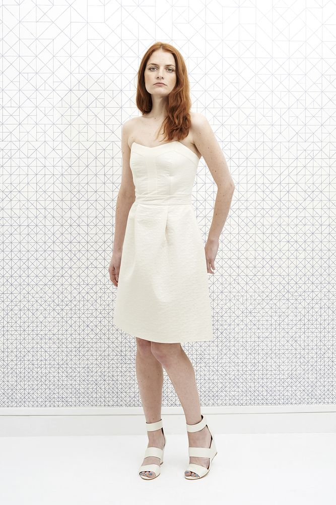 Robe Bustier June Crème vanina escoubet blanc crème mariage wedding emma go compensées retro