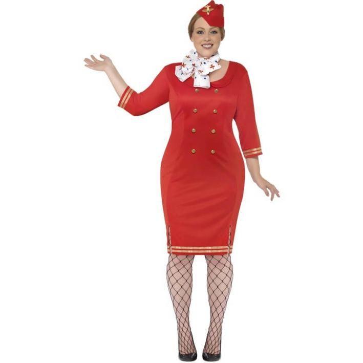 Disfraz de azafata de vuelo talla grande para mujer