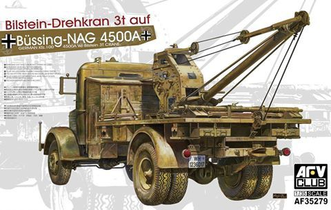 Bussing NAG 4500A Kfz.100 with Bilstein 3t crane. AFV Club, 1/35, rebox 2015 (ex AFV Club 2012 No.AF35170, updated/new parts), No.AF35279. Price: 52,50 EUR )marketplace).