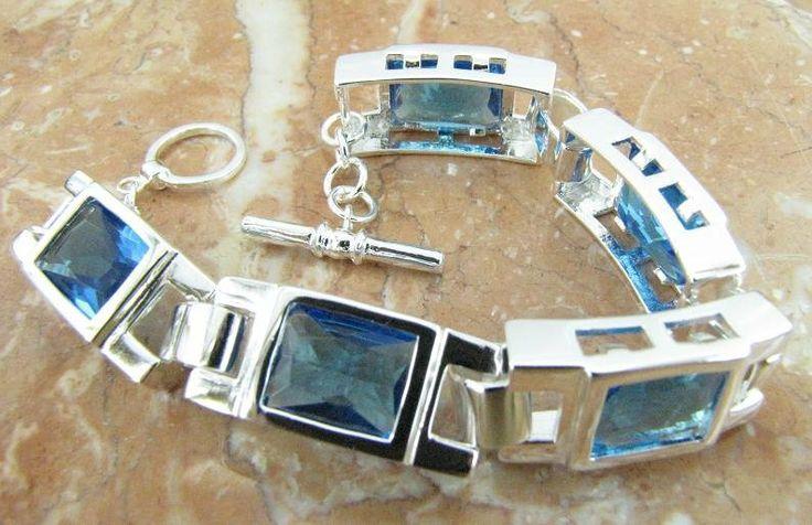 Atacado 925 prata esterlina e topázio azul pulseira, 925 jóias de prata, pulseira, frete grátis