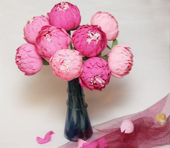 paper flowers peonies wedding flowers paper by FlowerDecoration