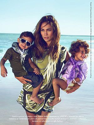 Here we have an advertisement for a big company called: Gucci. It stars Jennifer Lopez, a very iconic, famous celebrity holding two babies in her arms. I think this advertisement is exploiting the babies perhaps saying even though you have children, you can still look fabulous and be good looking.