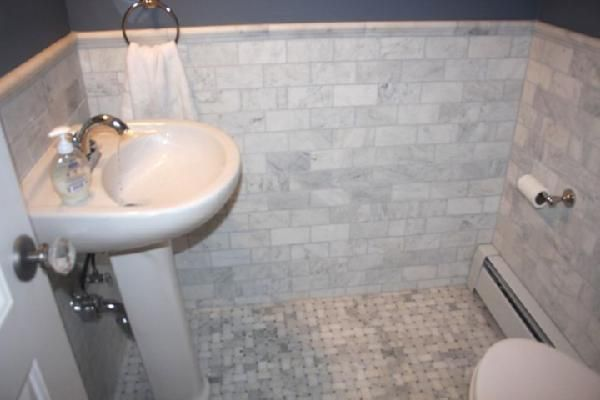 Lullabella: New Powder Room White Carrara Marble Subway