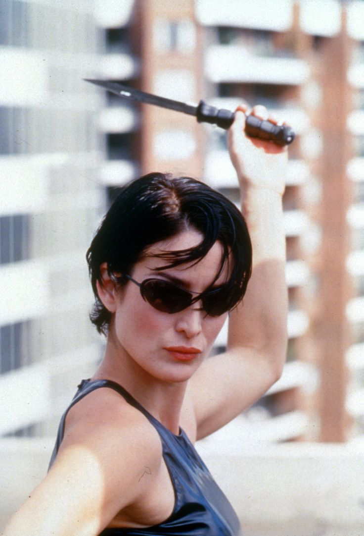 "Carrie-Anne Moss in ""The Matrix"" 1999."
