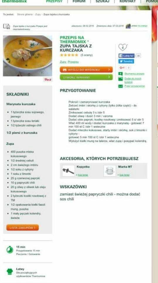 Zupa tajska z kurczaka