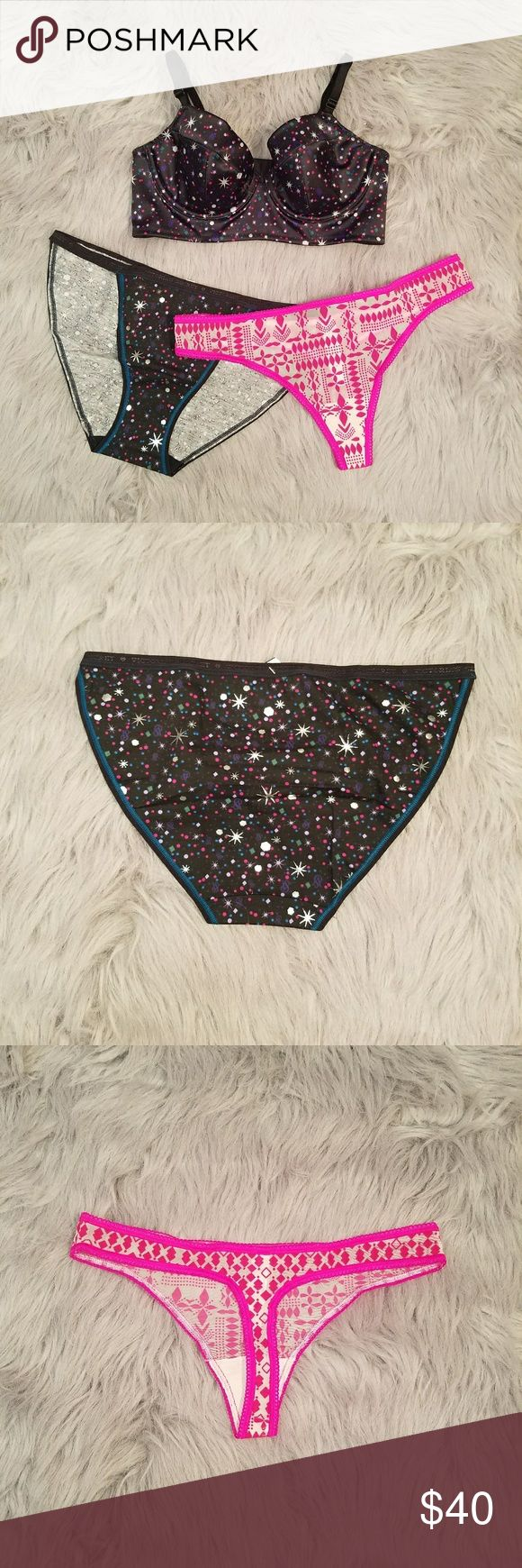 2 sets for $60! Super cute VS bra and panties set. Bra is a size 34B mini bustier with star and confetti print all over, silky satin feel! Panties are a matching cotton string bikini in size MEDIUM and a pink flocked fairisle print thong in size MEDIUM, the pink matches the pink in the confetti print! $40 for this 3 piece set or pick 2 3 piece sets for $60. That's 2 bras and 4 panties for just $60! All items are NWT or new in bag and only taken out for pics! Victoria's Secret Intimates…