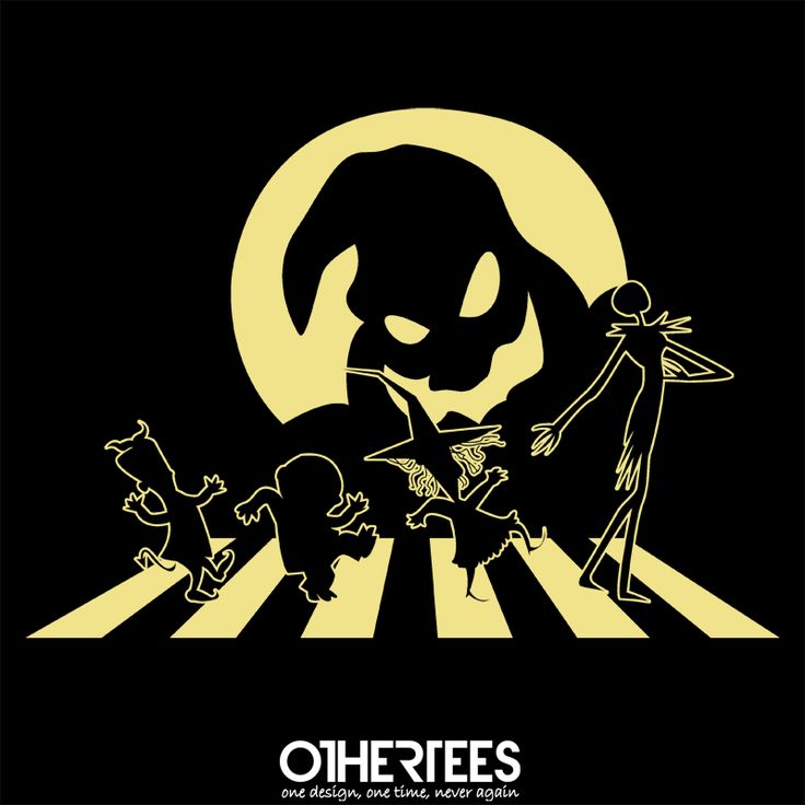 """""""Halloween Road"""" by SaMtRoNiKa Shirt on sale until 31 May on othertees.com Pin it for a chance at a FREE TEE! #timburton #jackskellington #thebeatles #abbeyroad"""