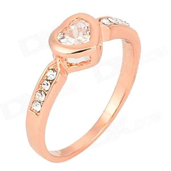 KCCHSTAR Elegant Heart Style 18K Zinc Alloy Ring w/ Inlaid Crystal - Golden