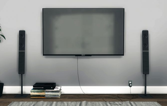 Sony KDL50W800B Wall Mounted TV at MXIMS via Sims 4 Updates