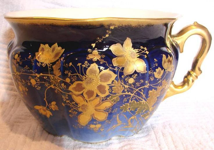 French limoges commode chamber pot cobalt w hand enameled for French chamber