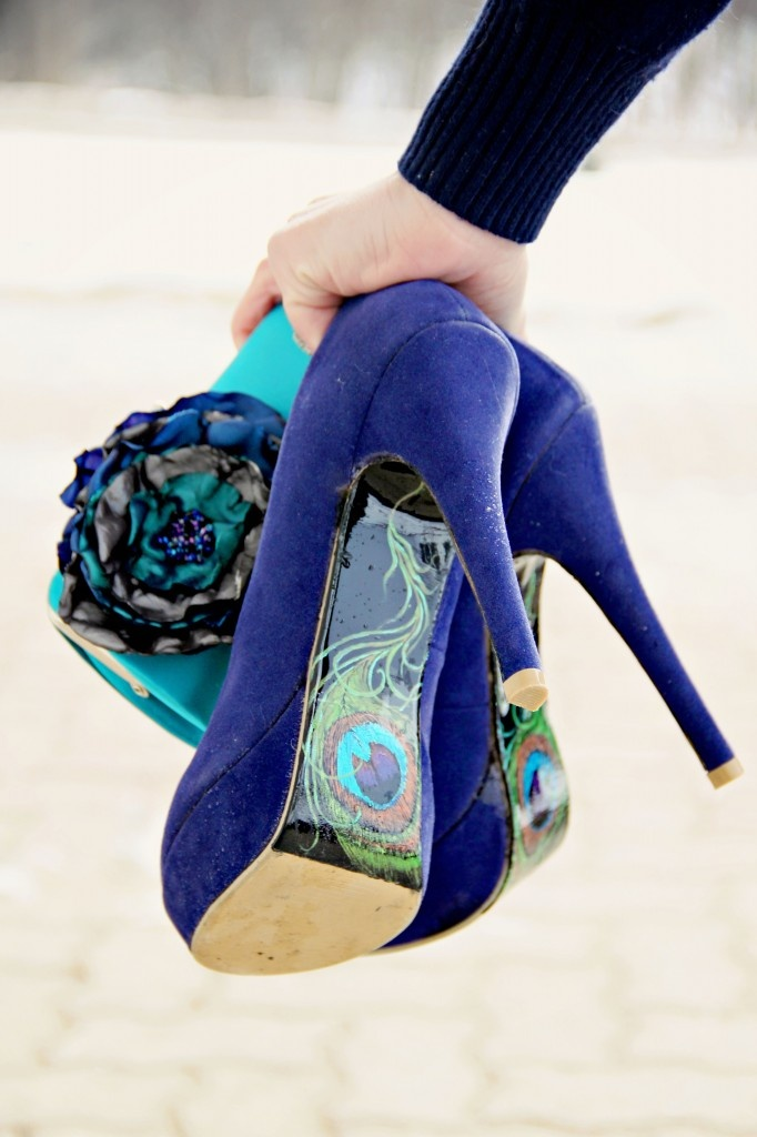 clutch & hand painted heels. ready to paint the town peacock!