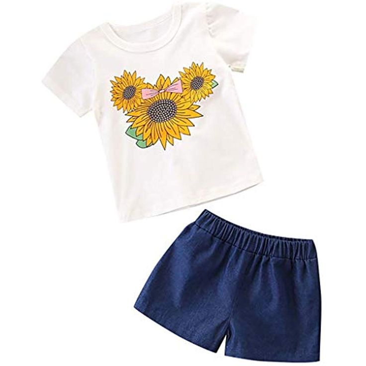 erthome Kinder Kinder Mädchen Kurzarm Sunflower Print T-Shirt Tops  Denim Short…