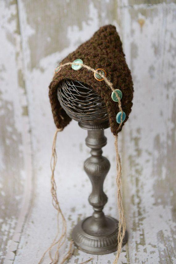 Brown Crochet Pixie Hat Photo Prop by LittleBittieBoutique on Etsy, $35.00