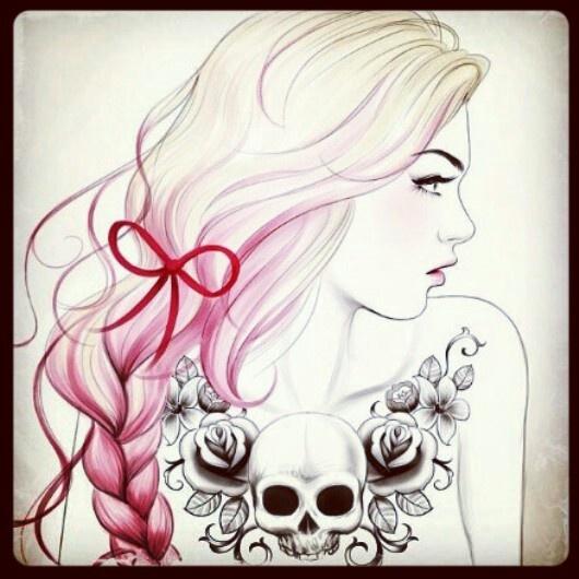 Pink braid chest tattoo