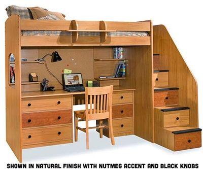 Utica Dorm Loft Bed with Workstation www.ekidsrooms.com