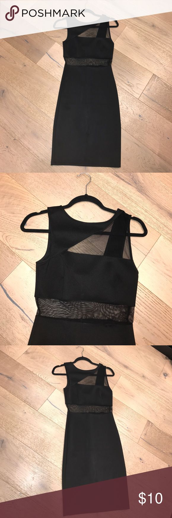 Black body forming dress Great black dress for any occasion dress it up or down.  Nice tight fitting dress, with stretch in the fabric. There is a bit of loosening in the stitching- pictured above. I have still worn it out this way with no worries.  😀 Lulu's Dresses Midi